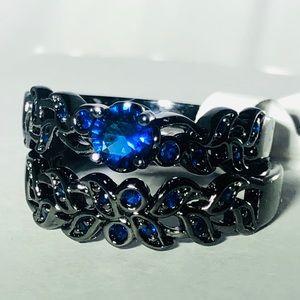 Blue sapphire simulated filigree wedding ring set